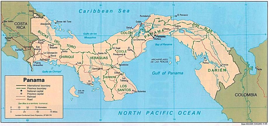 Mapa-Politico-de-Panama-1995